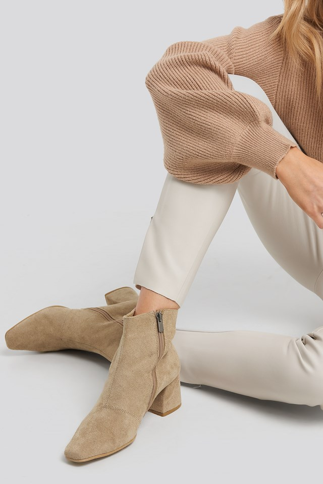 Squared Toe Basic Boots Beige