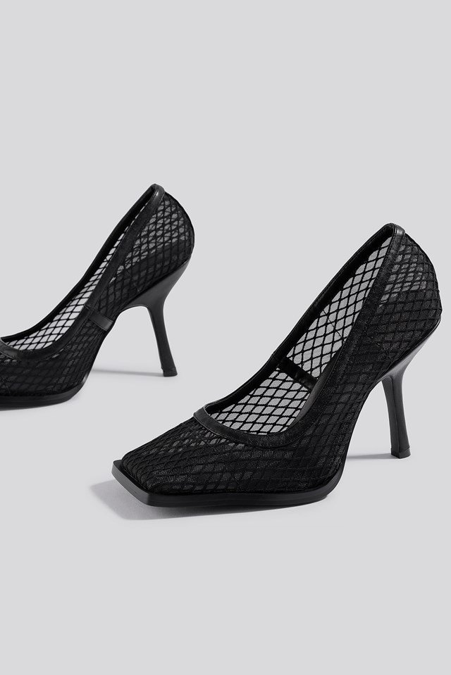 Squared Toe Mesh Pumps NA-KD Shoes