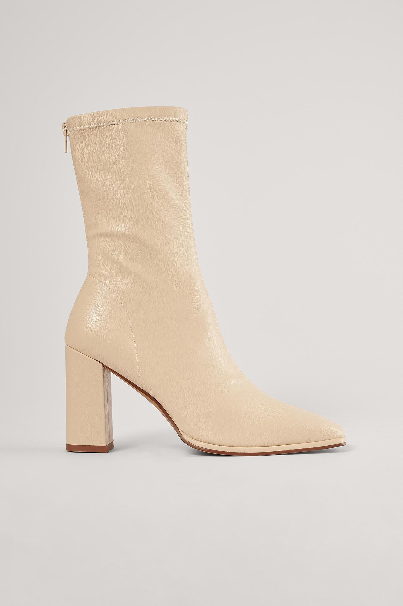 NA-KD Shoes Støvler Med Firkantet Tå - Beige