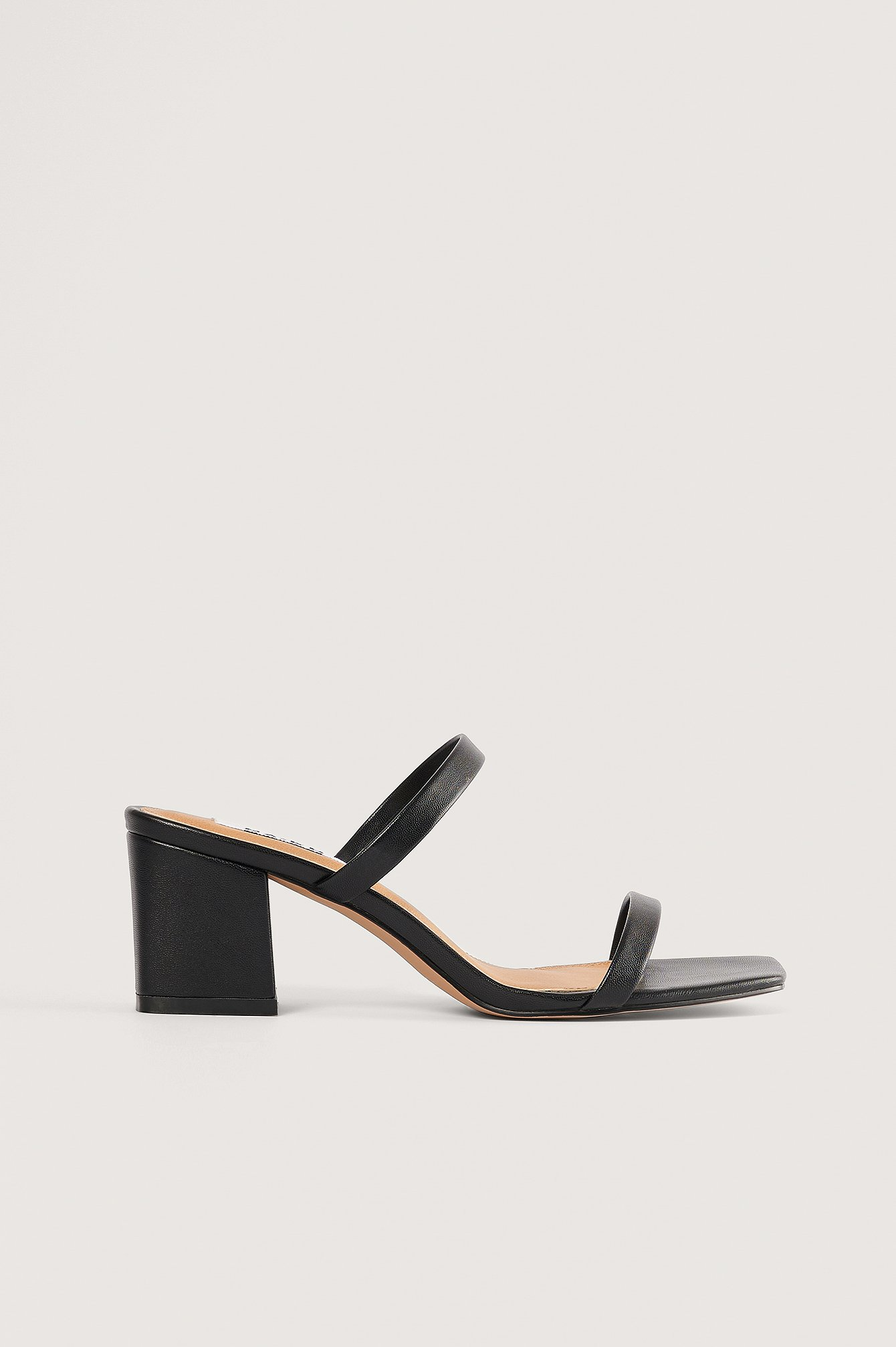 na-kd shoes -  Squared Two Strap Sandals - Black