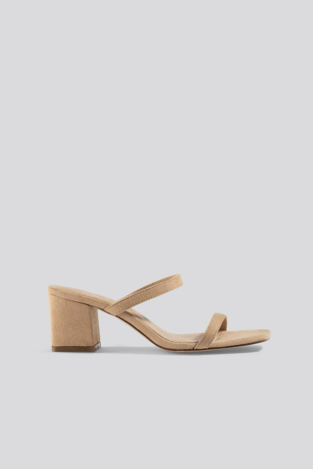 Squared Two Strap Sandals Beige Suede
