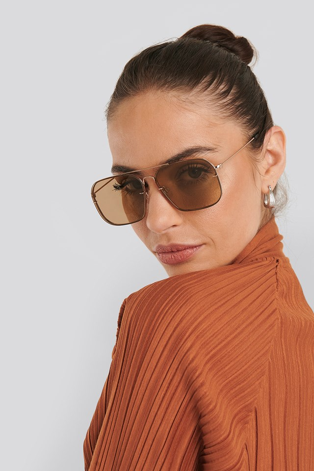 Squared Wire Frame Sunglasses Light Brown