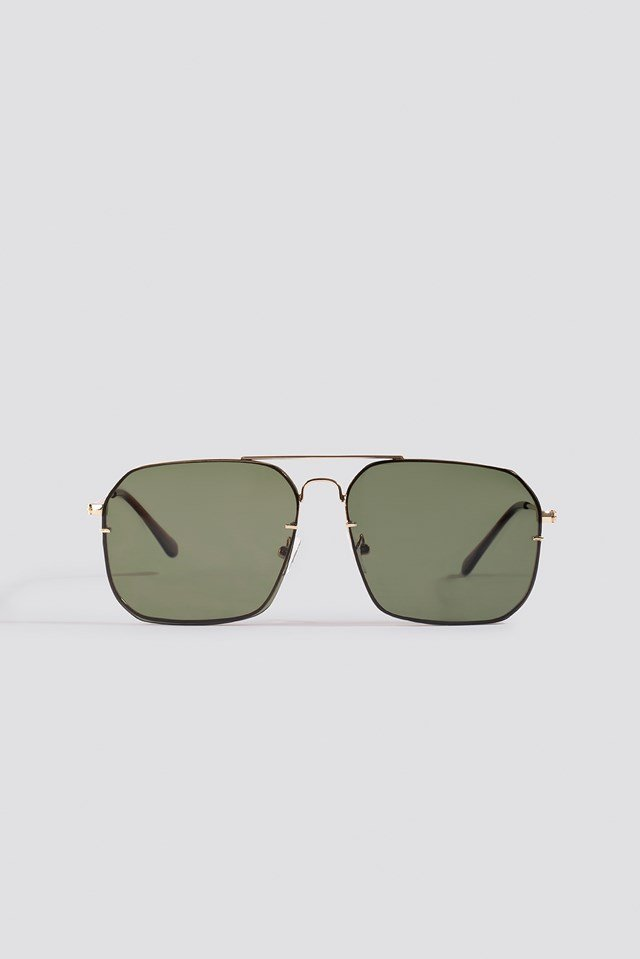 Squared Wire Frame Sunglasses Green Bottle