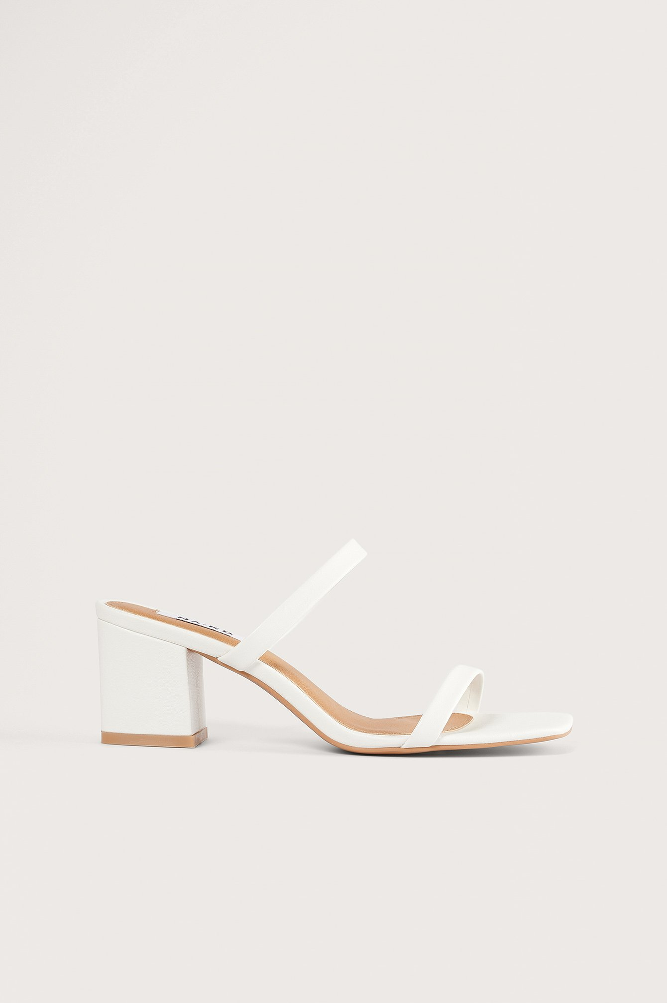 na-kd shoes -  Squared Two Strap Sandals - White