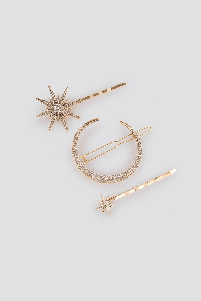 Star and Moon Hair Clip Set Gold