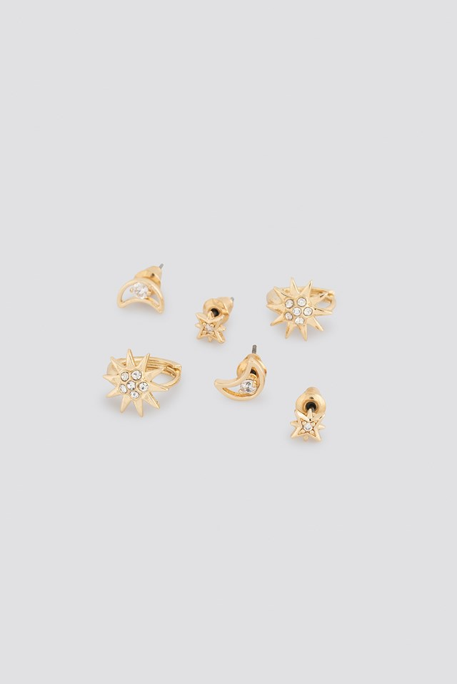 Star And Moon Stud Set Gold