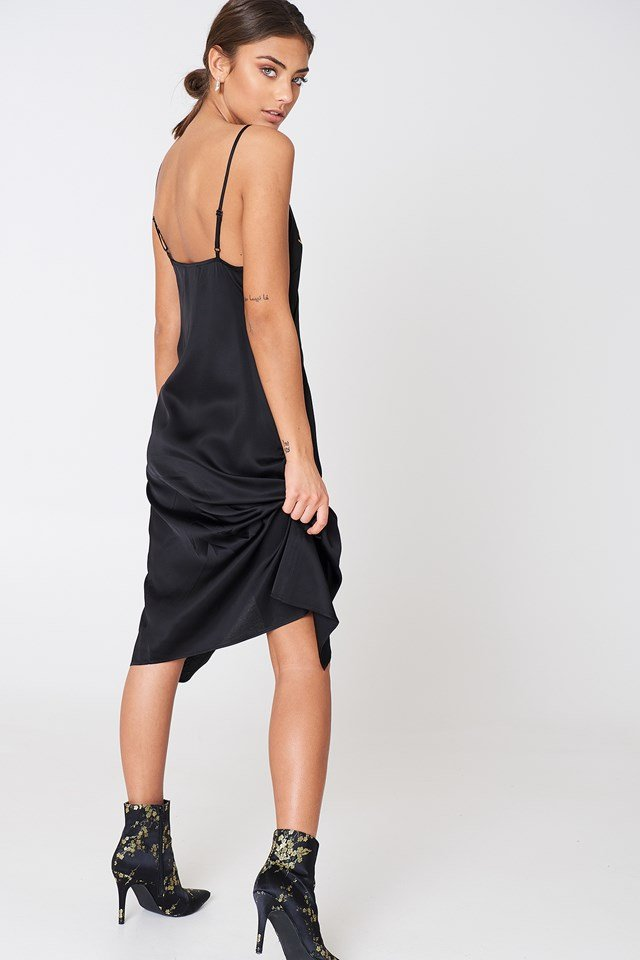 Star Embroidery Wrap Over Dress Black