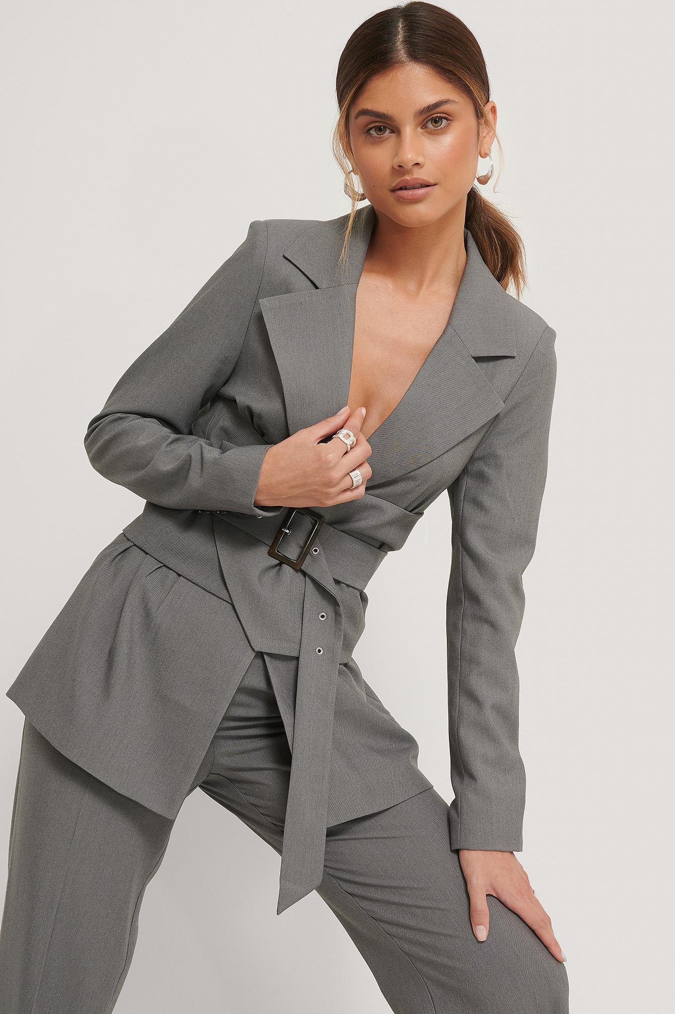 stéphanie durant x na-kd -  Blazer Mit Taillendetail - Grey