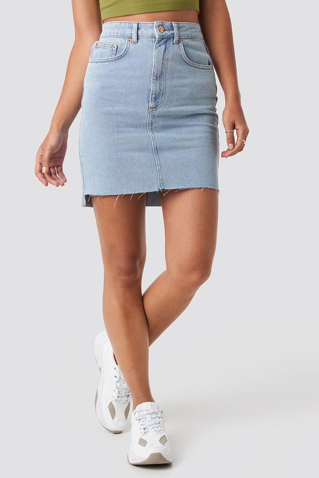 Stepped Hem Mini Skirt Light Blue