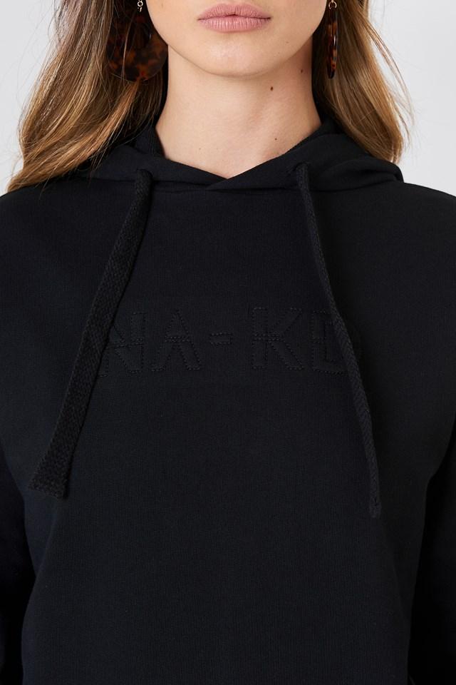 Bluza z kapturem ze szwem NA-KD Black
