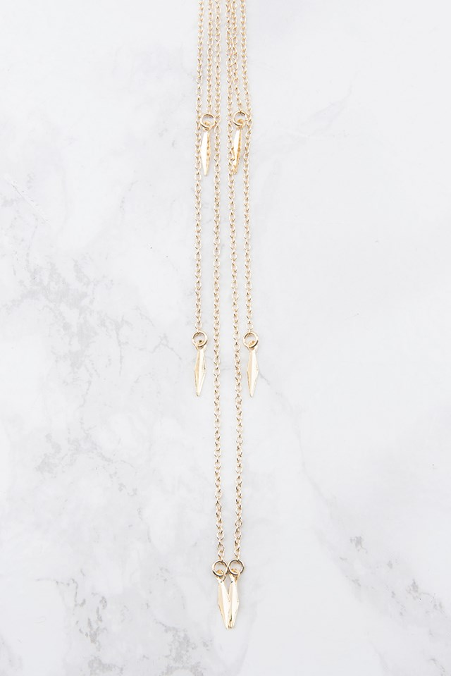 Stiff Choker with Chains Gold
