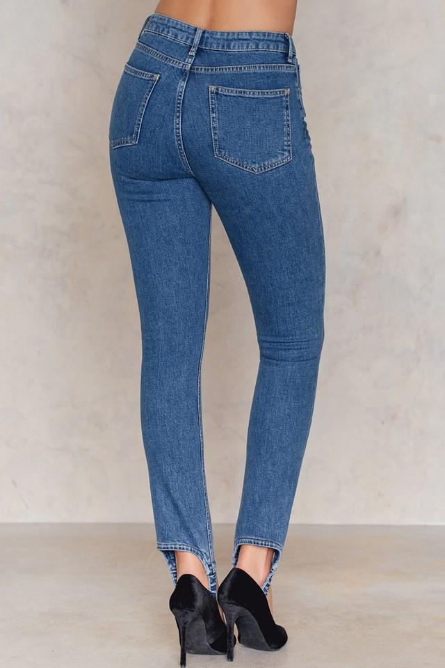Stirrup Denim Trousers Mid Blue