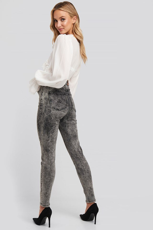 Stone Washed Skinny Jeans Black