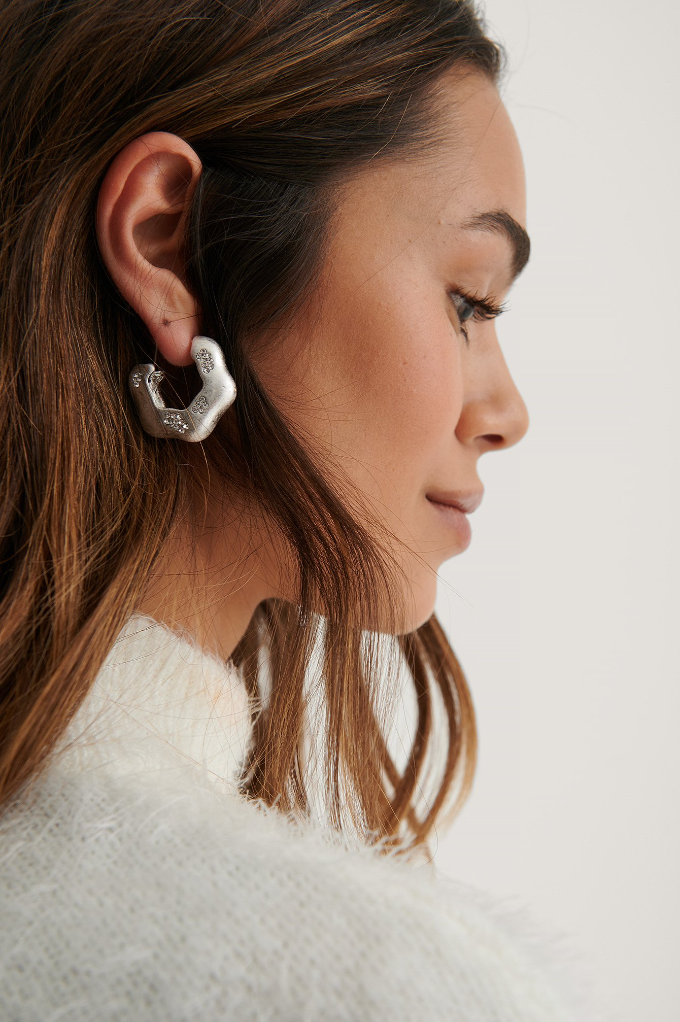 Silver Stone Detailed Hoops