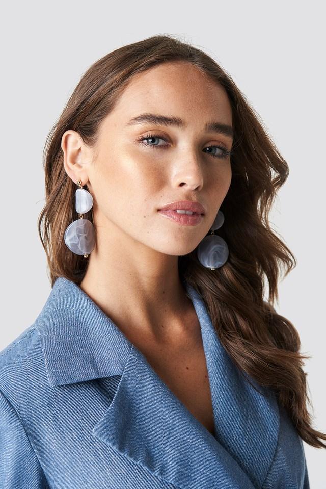 Stone Look Earrings Grey