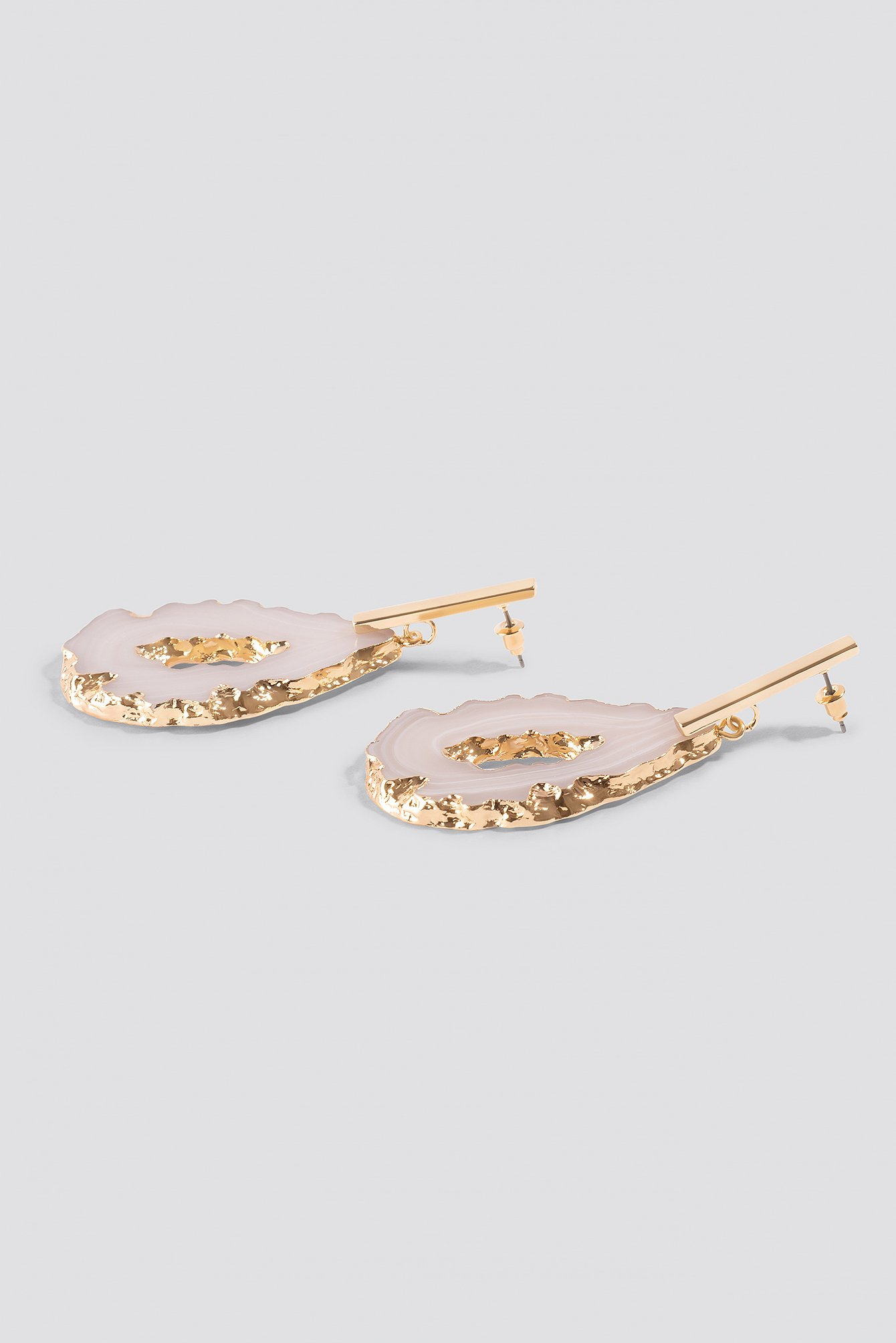 Stone Plate Golden Earrings NA-KD.COM
