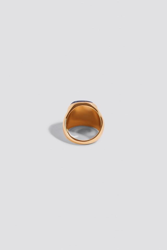 Stone Signet Ring Blue