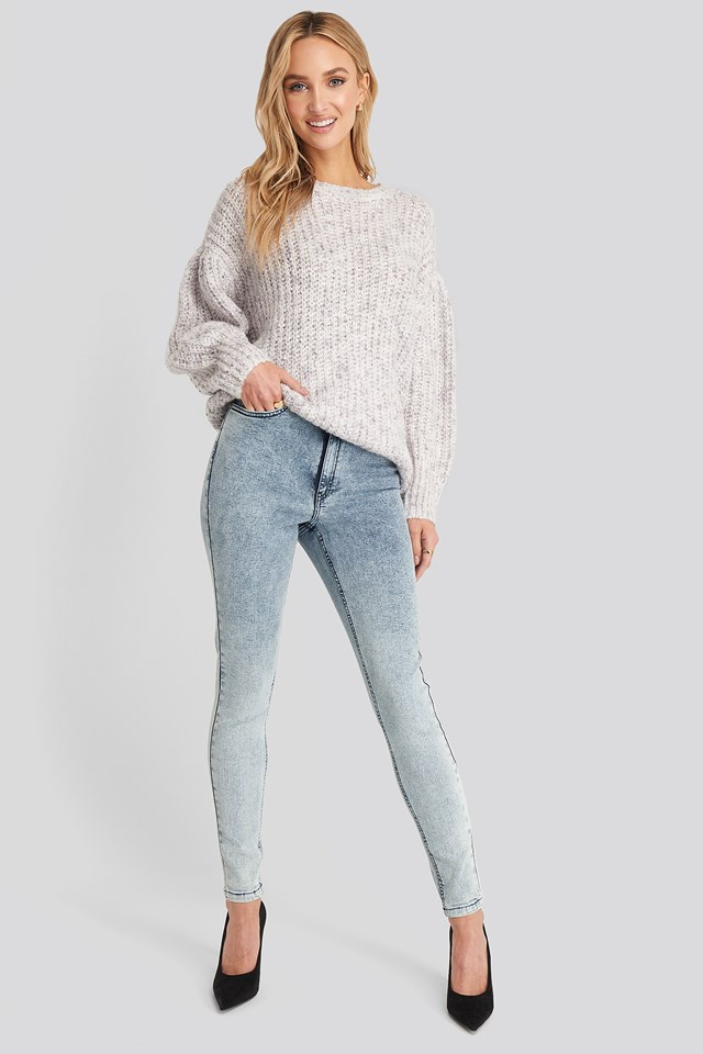 Stone Washed Skinny Jeans Blue