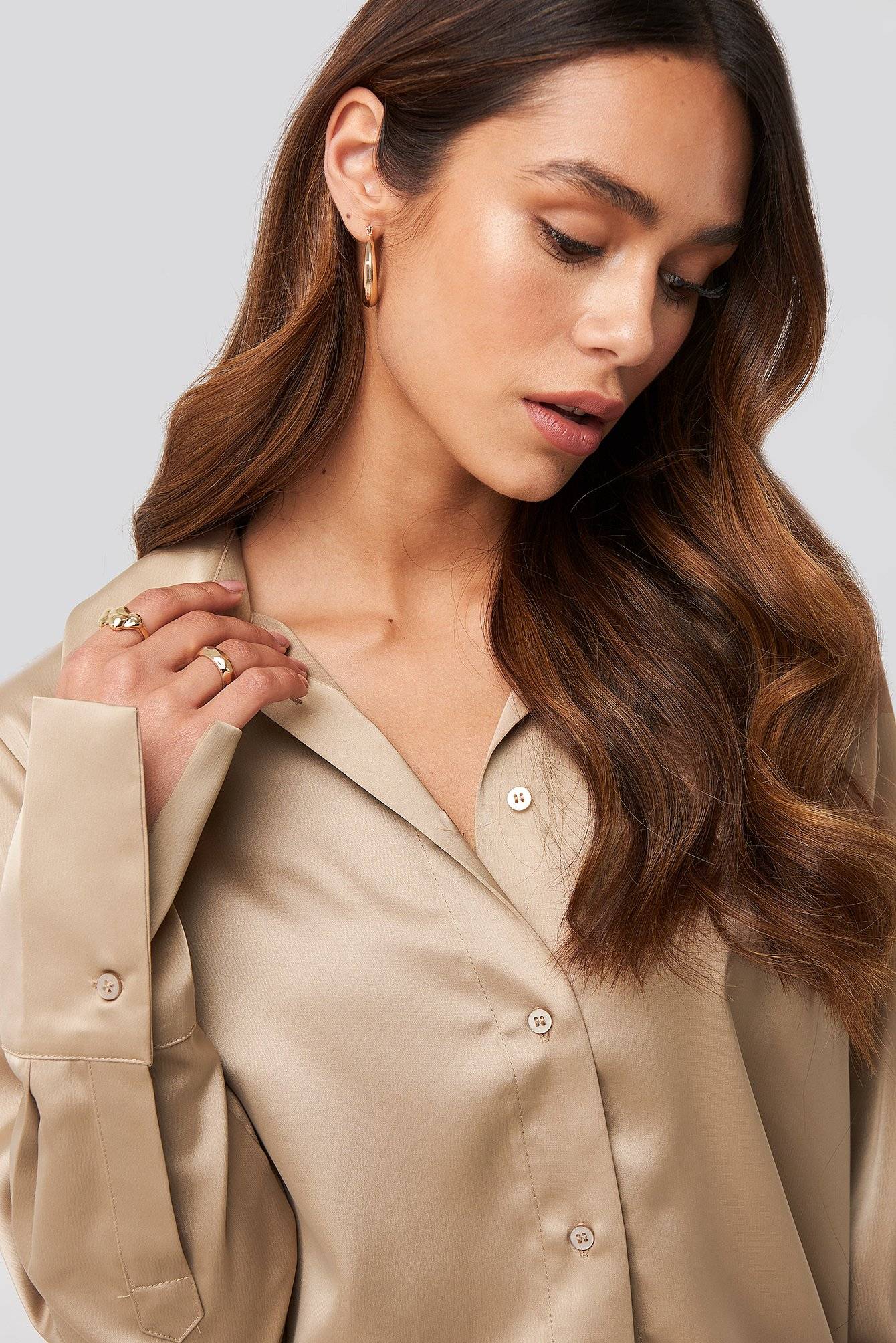 Straight Fitted Satin Blouse Beige by Na Kd Trend