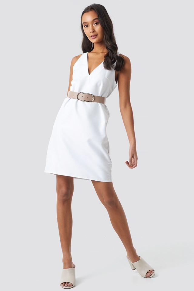 Straight V-Neck Mini Dress White