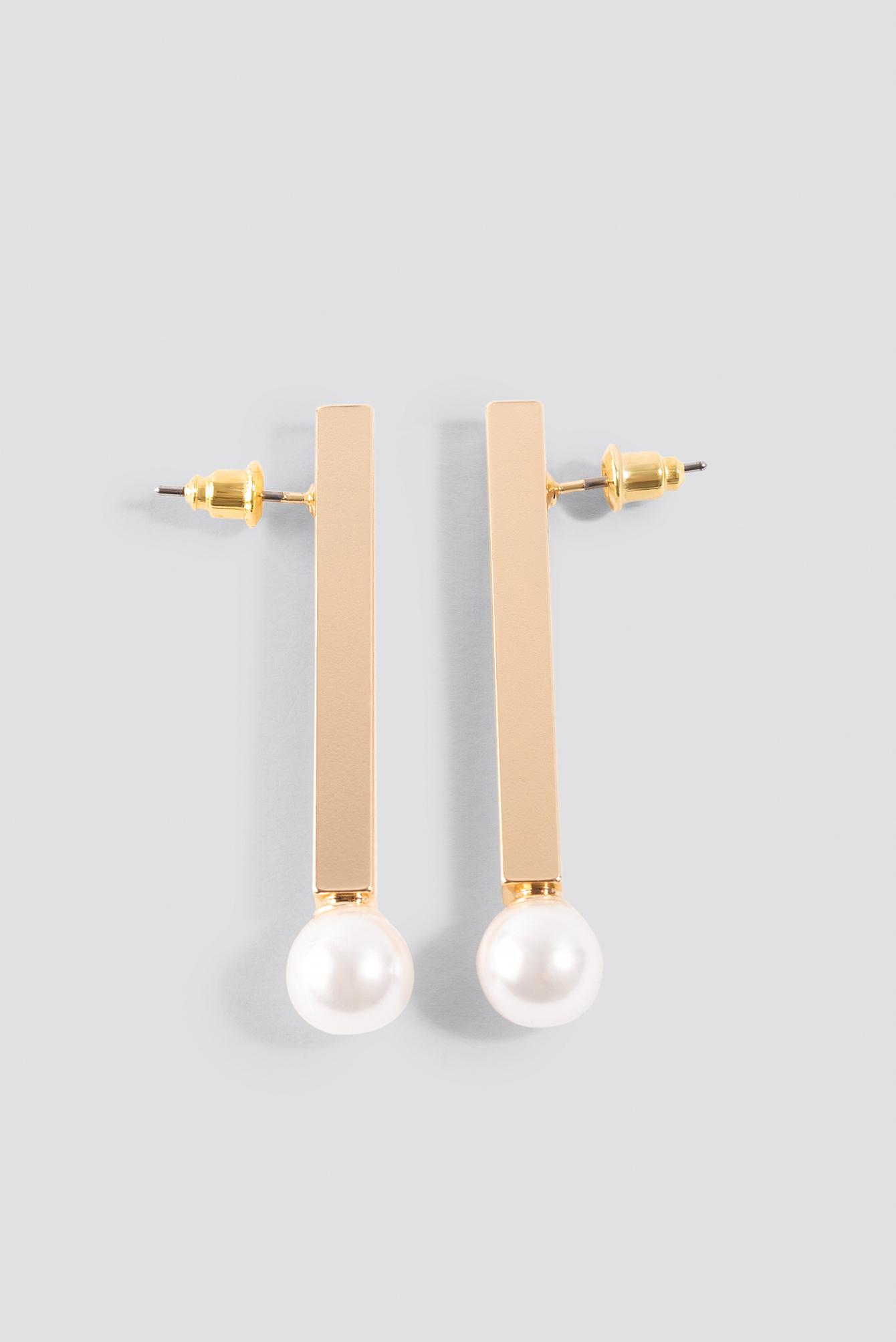 Straight Bar Pearl Earrings NA-KD.COM