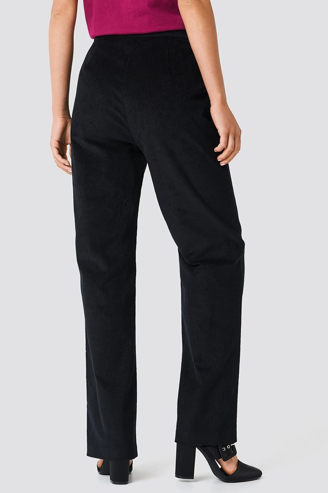 Straight Corduroy Pants Black
