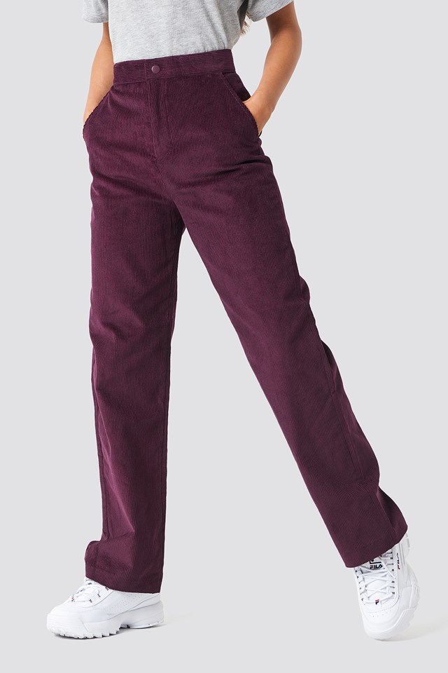 Straight Corduroy Pants Burgundy