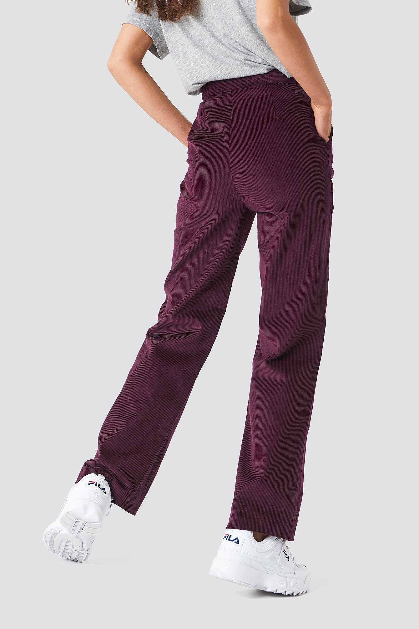 Burgundy Straight Corduroy Pants