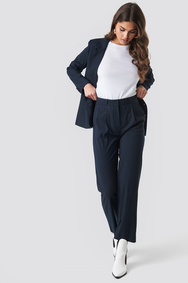 Straight Cropped Striped Suit Pants NA-KD Classic