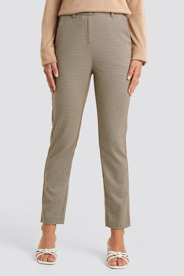 Straight Dog-tooth Suit Pants Brown