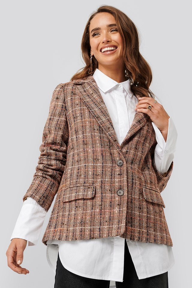 Straight Fit Checked Blazer Brown Check