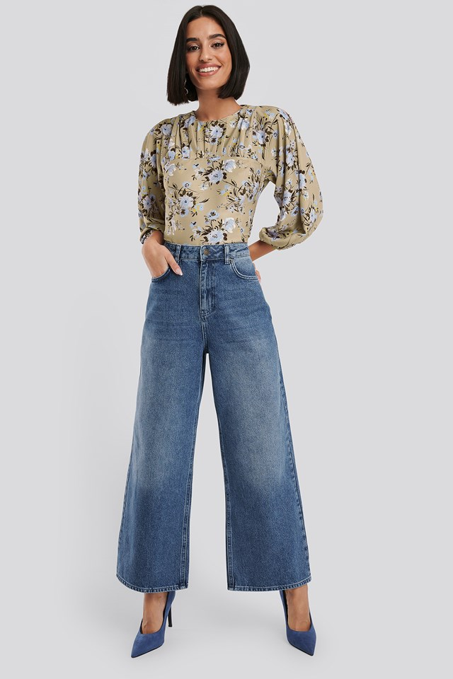 Straight Fit Cropped Jeans Mid Blue Wash