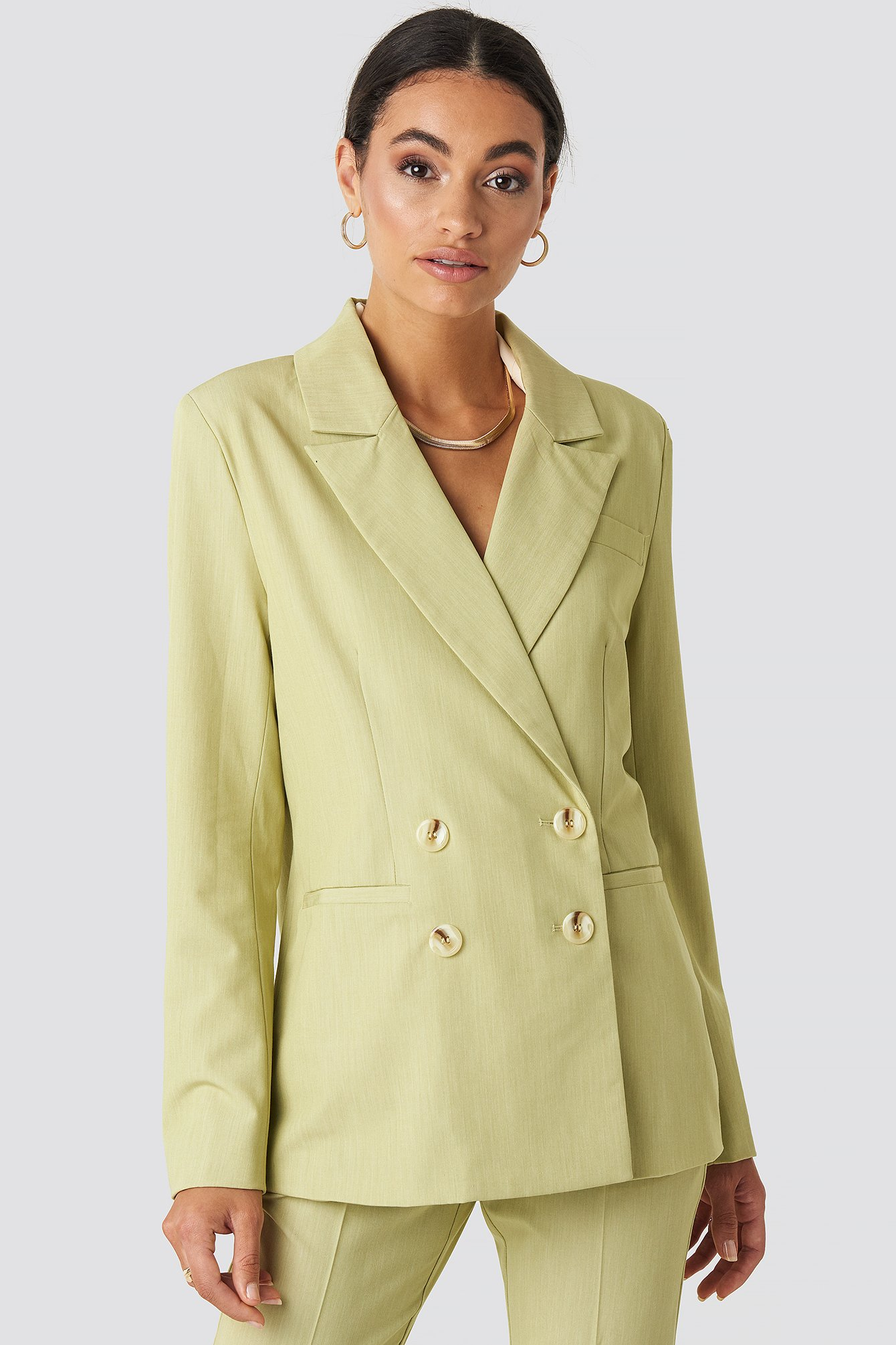 na-kd classic -  Straight Fit Double Breasted Blazer - Green
