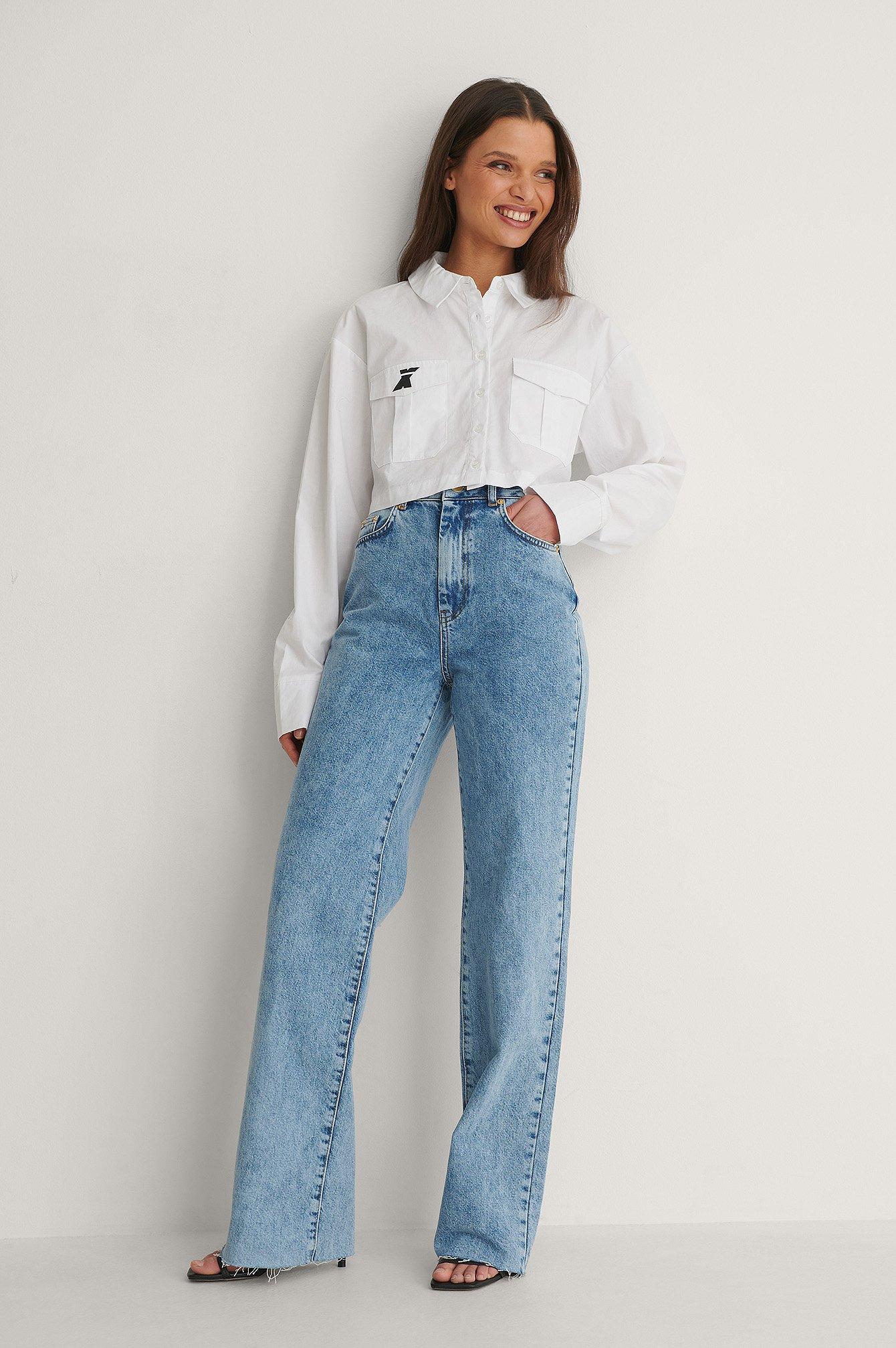 NA-KD Trend Økologiske Lige Jeans Med Åben Hem - Blue