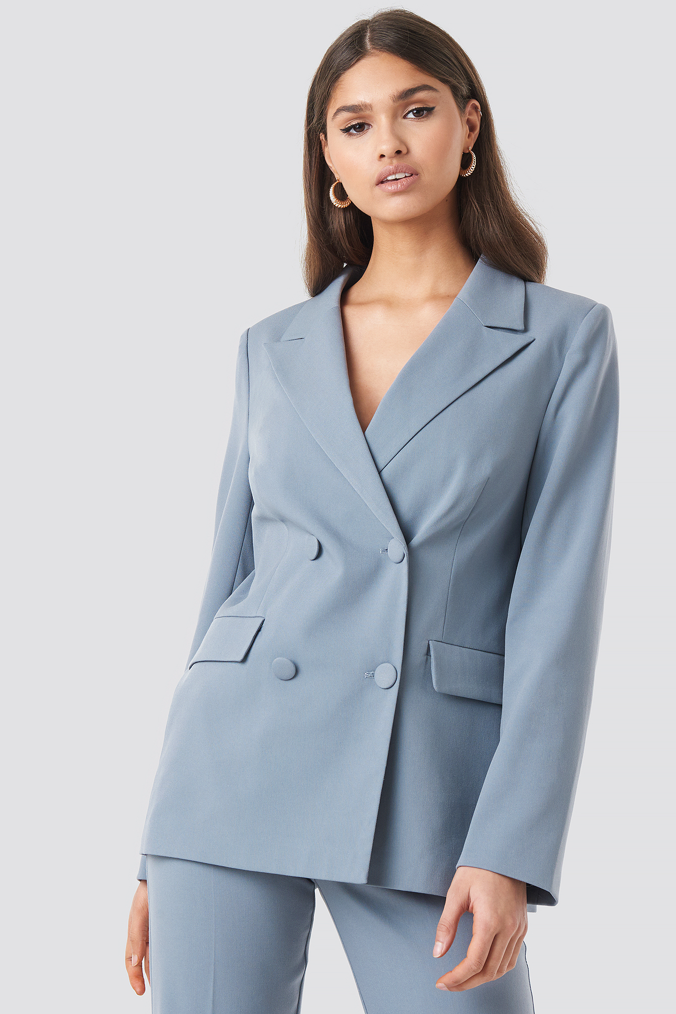 Straight Fitted Double Breasted Blazer NA-KD.COM