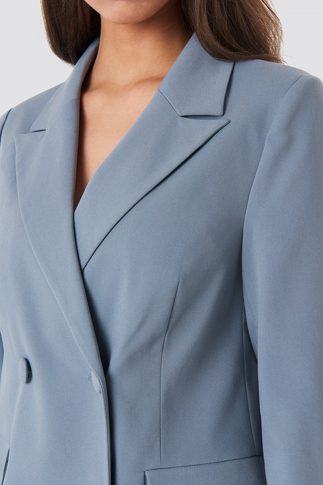 Straight Fitted Double Breasted Blazer Blue/Grey