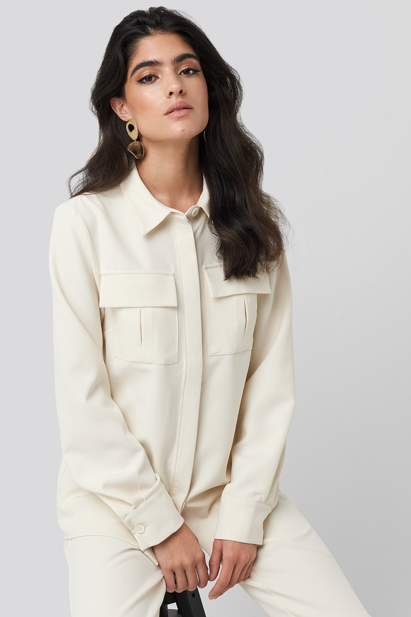 na-kd classic -  Straight Fitted Overshirt - White