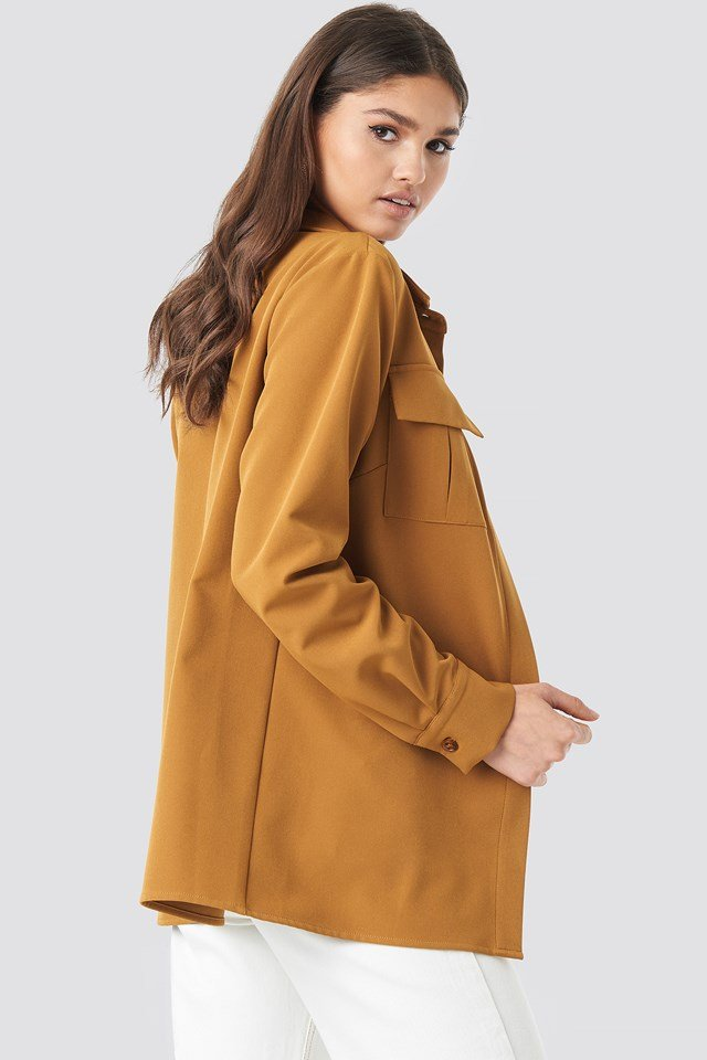 Straight Fitted Overshirt Camel