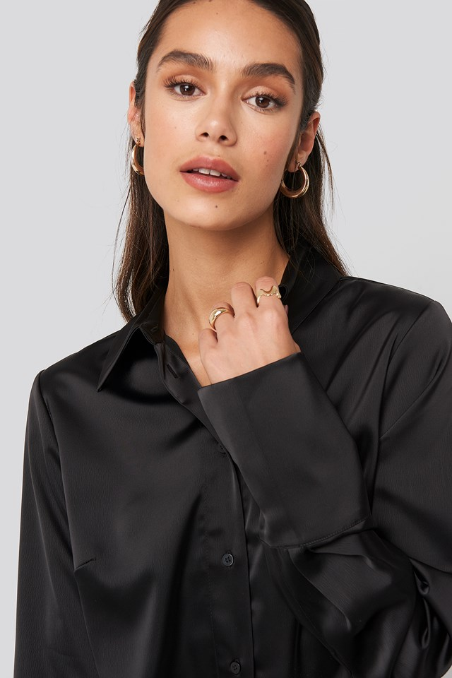 Straight Fitted Satin Blouse Black