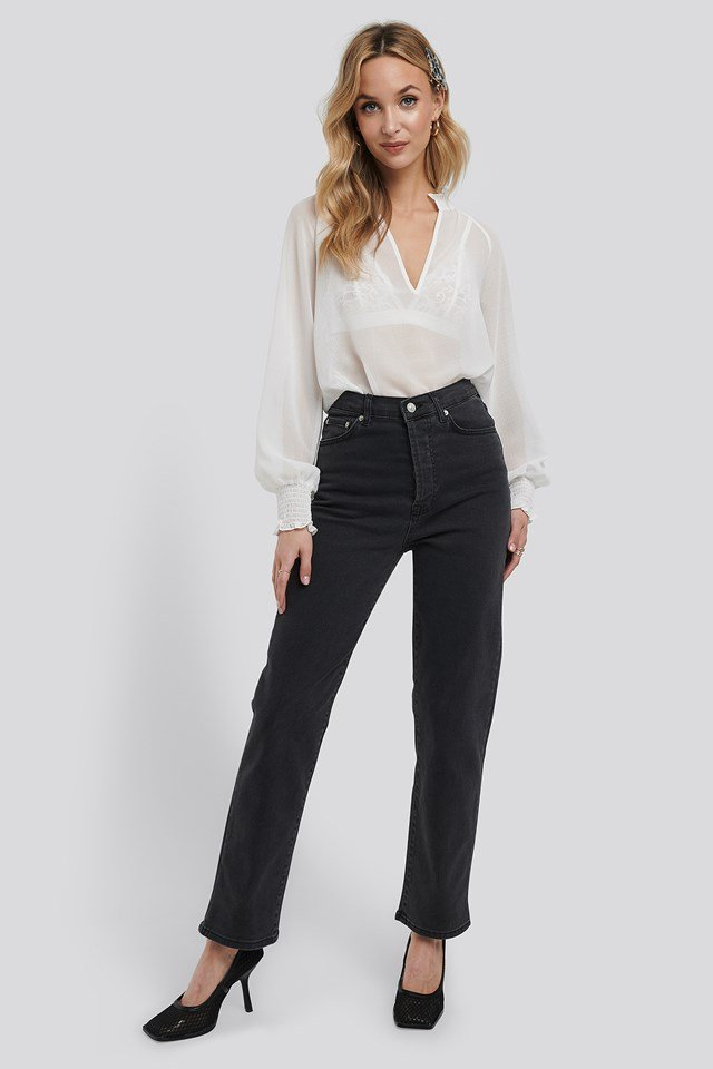 Straight High Waist Jeans Dark Grey