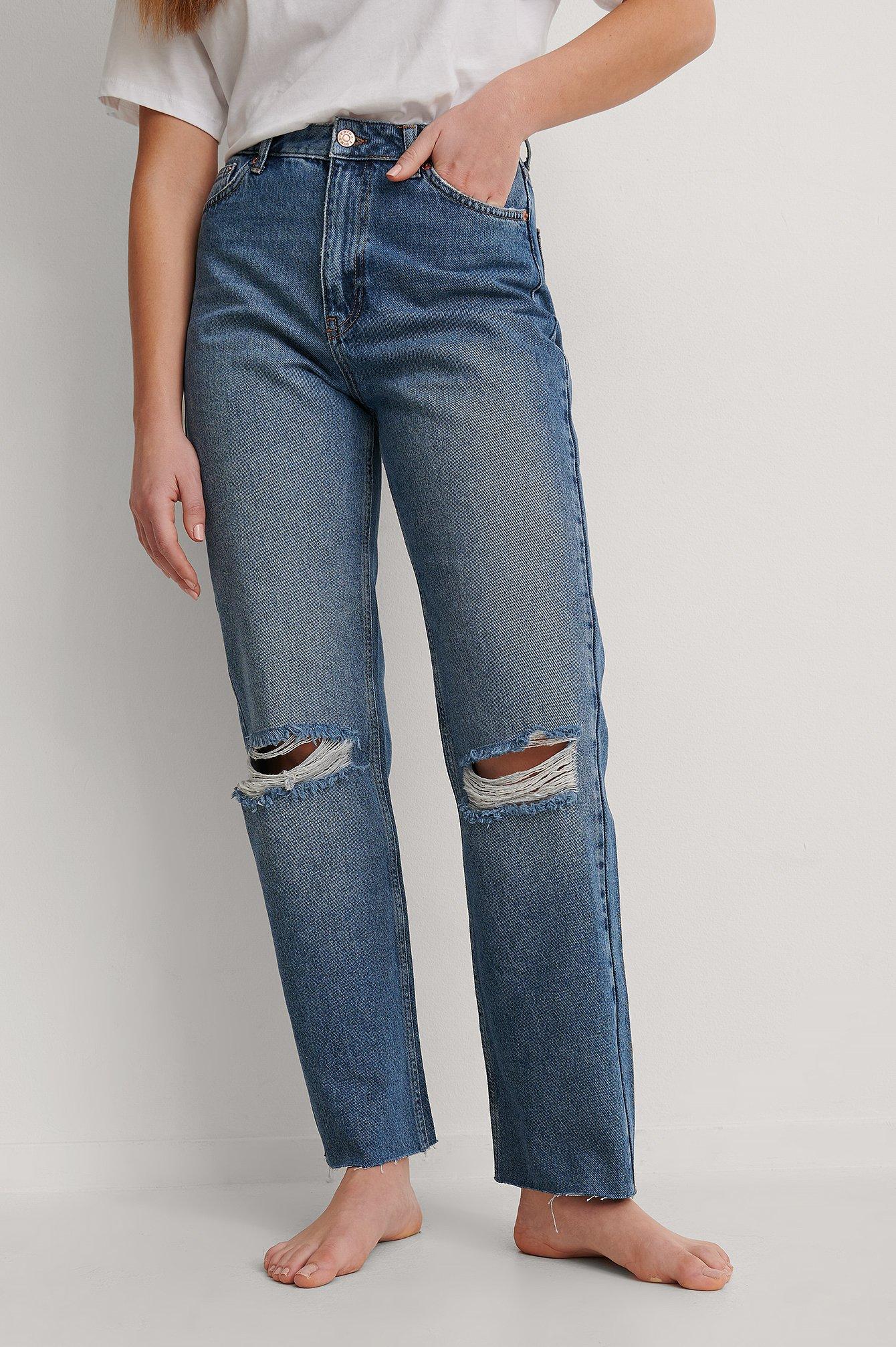 NA-KD Trend Økologiske Hullede Højtaljede Lige Jeans - Blue