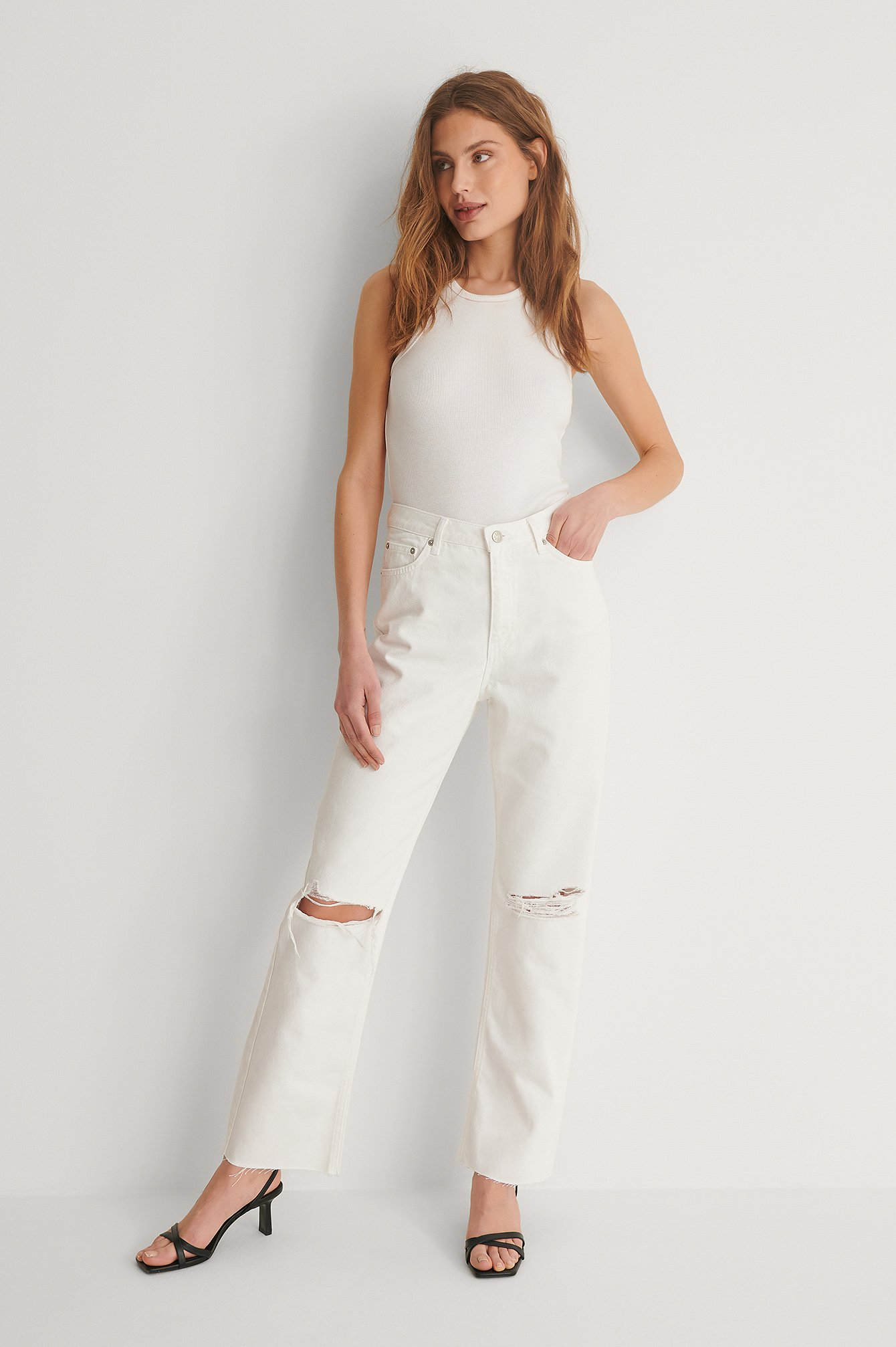 White Organic Straight High Waist Raw Hem Destroyed Jeans