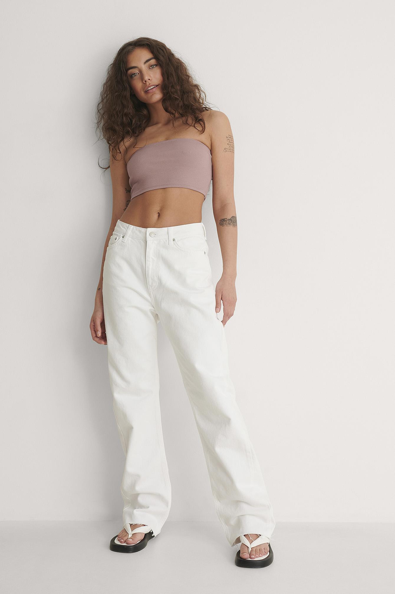 NA-KD Trend Økologiske Højtaljede Lige Jeans Med Åben Hem - White