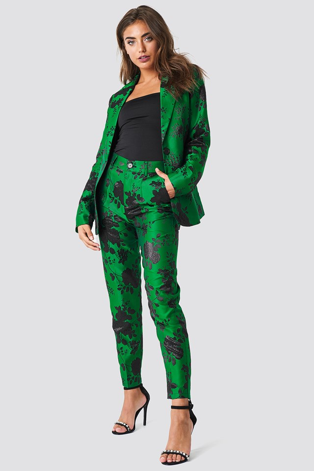 Straight Jacquard Pants Green