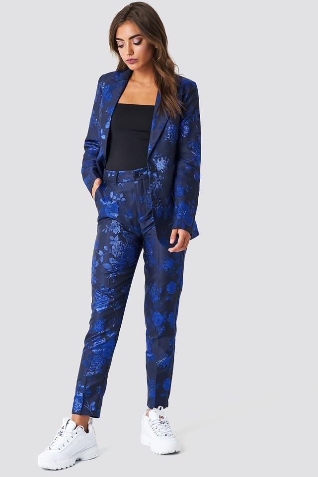 Proste spodnie żakardowe Cobalt