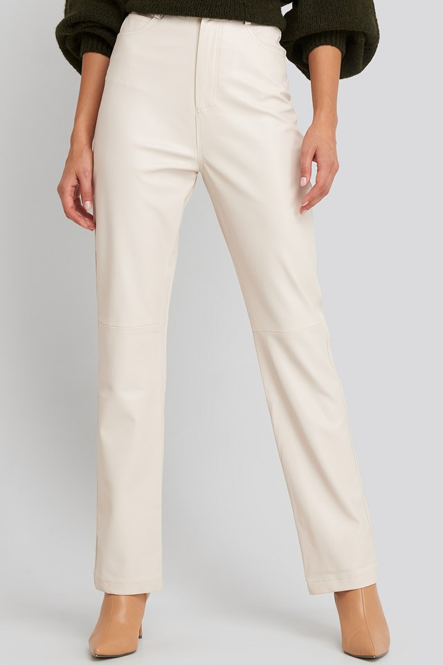 Straight Leg Faux Leather Pants Beige