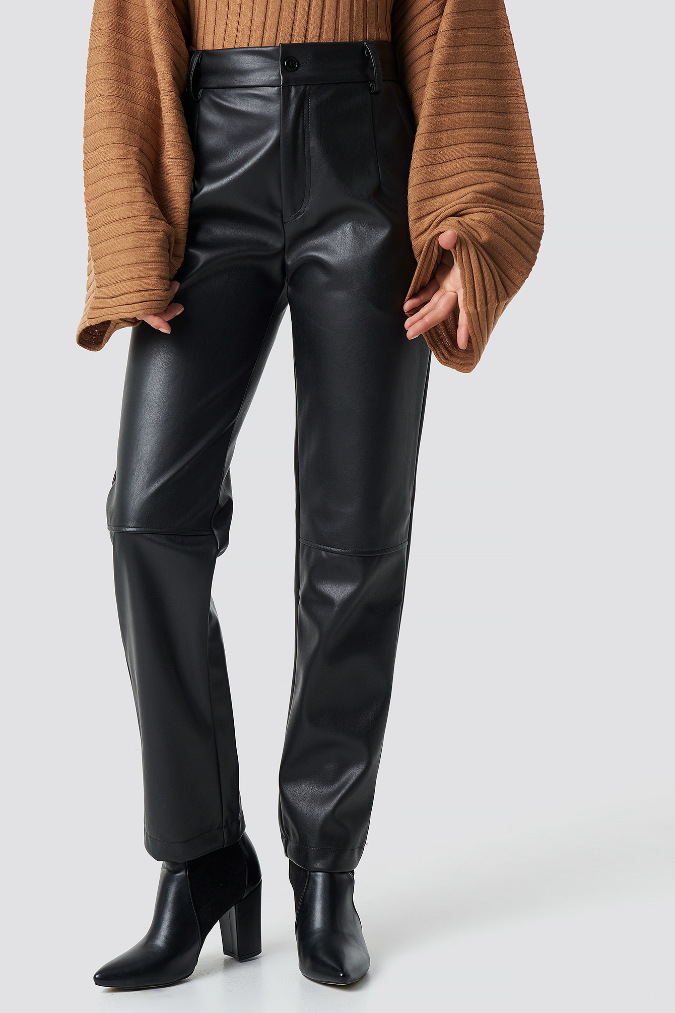 Straight Leg PU Pants NA-KD.COM