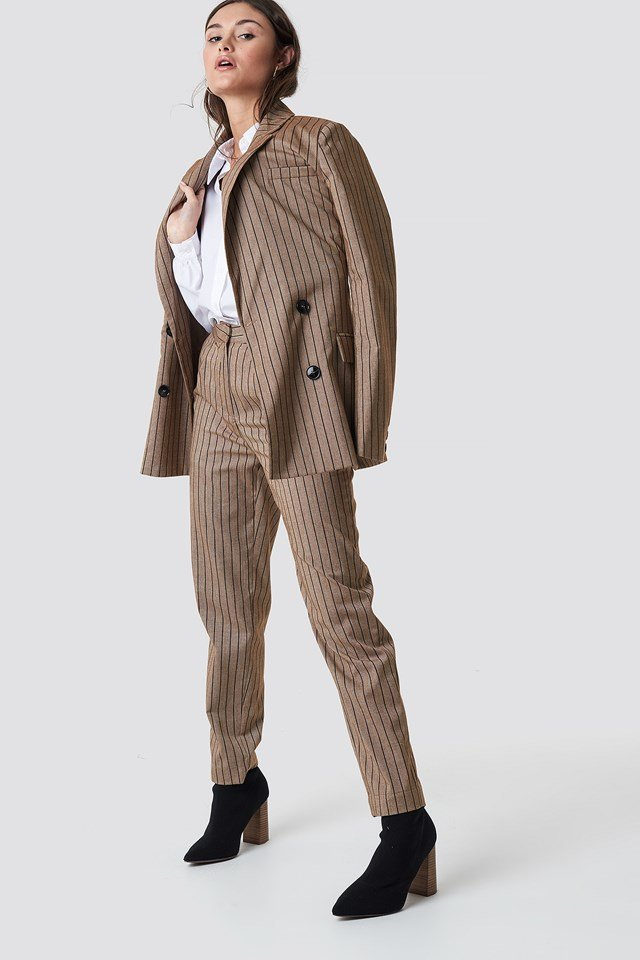 Straight Leg Striped Suit Pants Beige