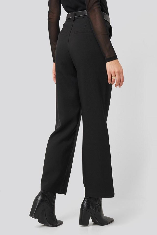 Straight Leg Wide Pants Black