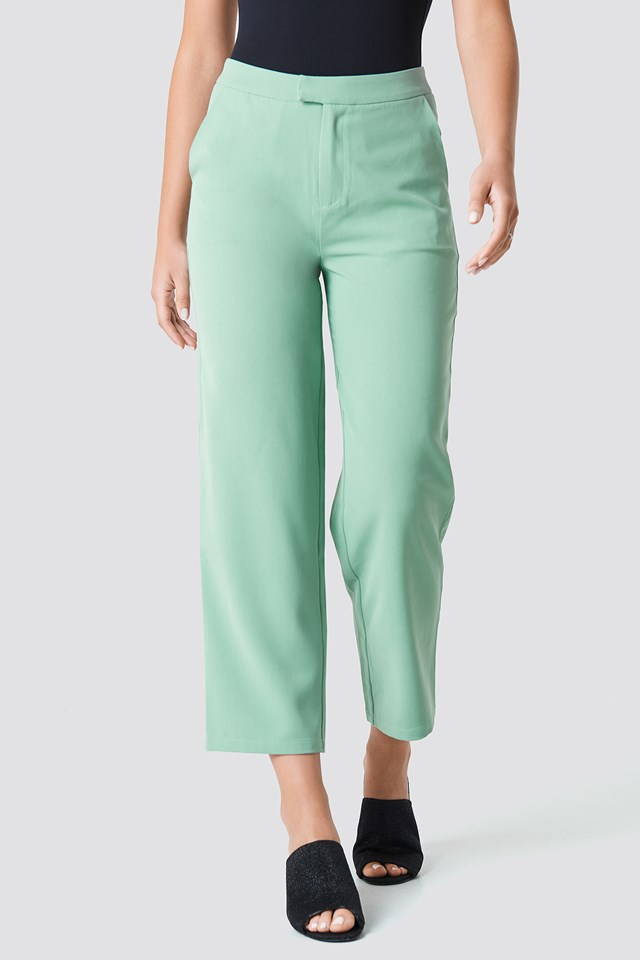 Straight Loose Fit Suit Pants Dusty Green